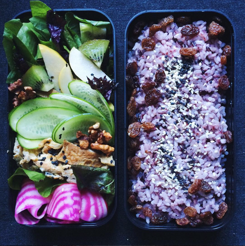 New! Bento box for A. Greens and pinks