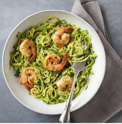 New! Zucchini Noodles Avocado Pesto & Shrimp