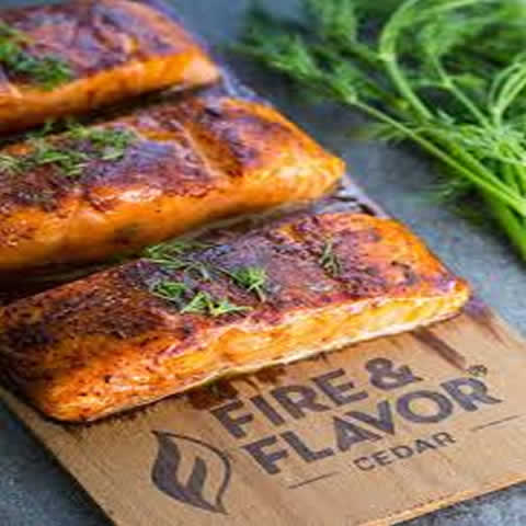 Cedar Plank Salmon served with Vegetables