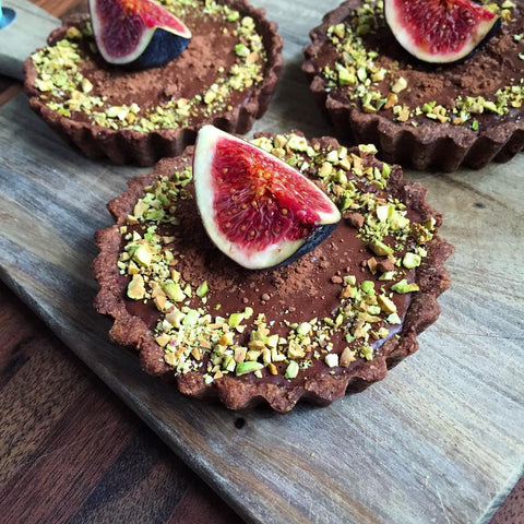Chocolate & Fig Tarts With Crushed Pistachios & An Almond Crust