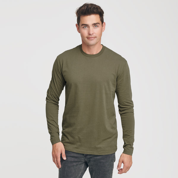 Military Green Crew Neck Long Sleeve