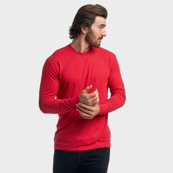Red Crew Neck Long Sleeve
