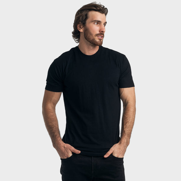 Black Long Body Crew Neck Tee
