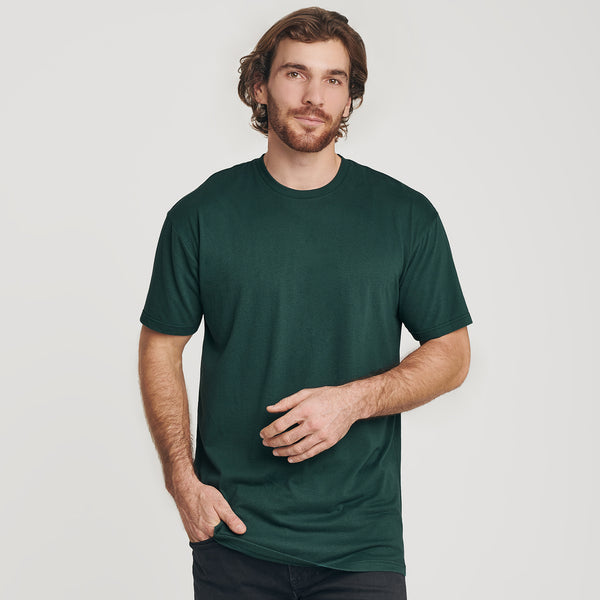 Forest Green Long Body Crew Neck Tee