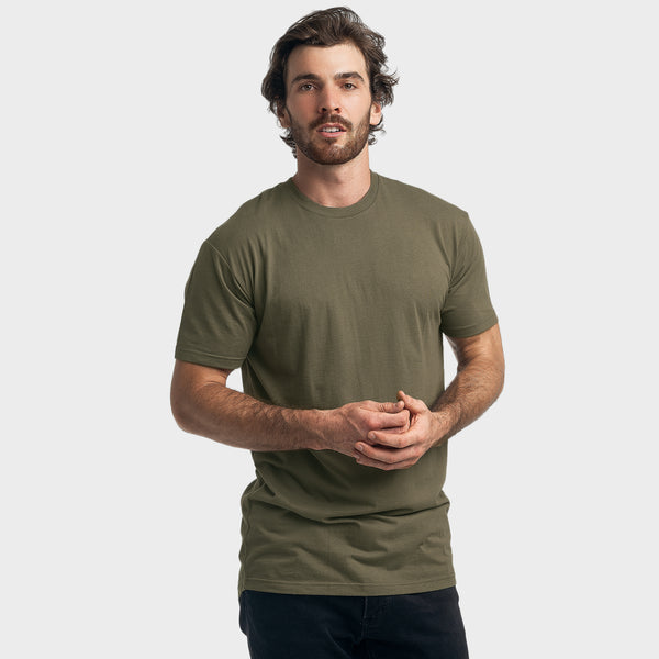Military Green Long Body Crew Neck Tee