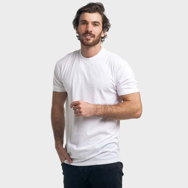White Long Body Crew Neck Tee
