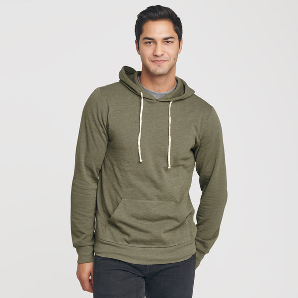 Military Green Fleece Pull Over Hoodie