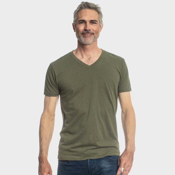 Military Green V-Neck T-Shirt