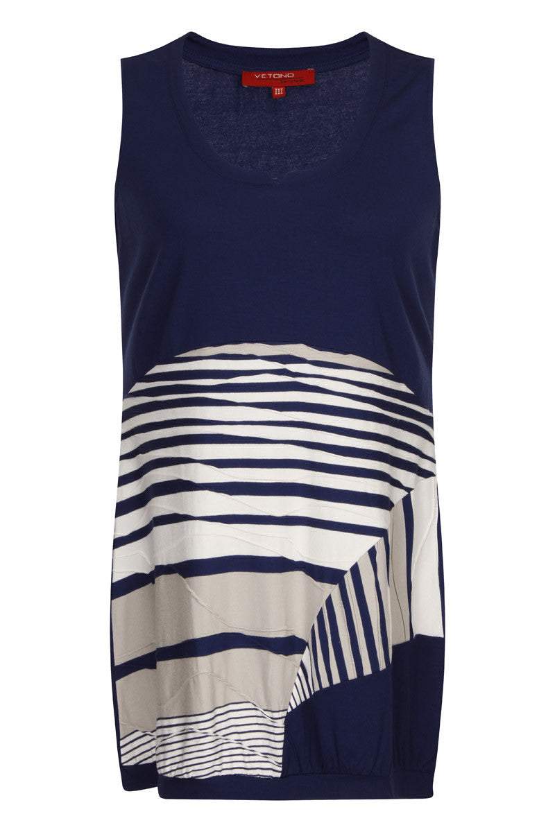 Sleeveless Top - Striped Sleeveless Tee by VIDA VIDA Shipping Outlet Store Online 8DB25