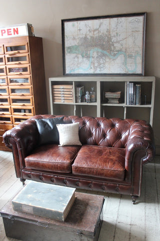 CHESTERFIELD TWO SEAT LEATHER SOFA