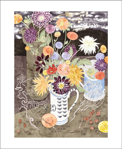 Art Angels Card - Dahlias with No.19 Jug