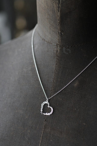 Alex Monroe Feather Heart Necklace (Silver)