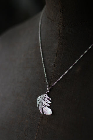Alex Monroe Feather Silver Necklace (Large)