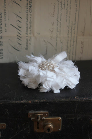 WHITE BEADED CORSAGE