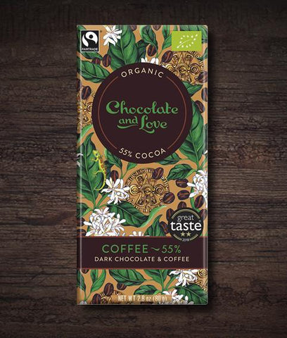 Chocolate & Love - Coffee Organic Dark Chocolate Bar