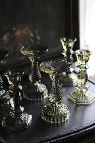 Olive Glass Candlesticks