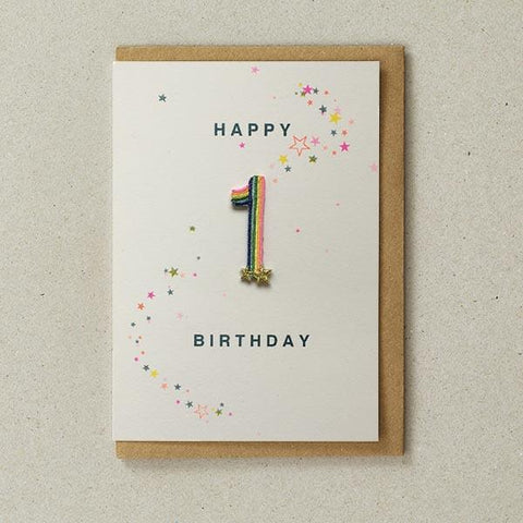 Embroidered Patch Card 1st Birthday
