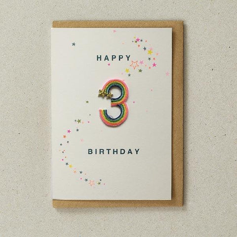Embroidered Patch Card 3rd Birthday