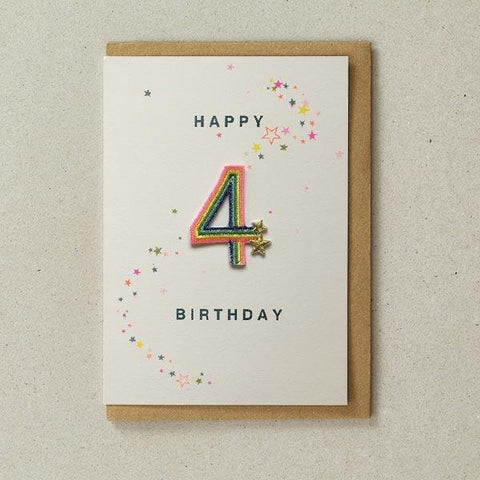 Embroidered Patch Card 4th Birthday