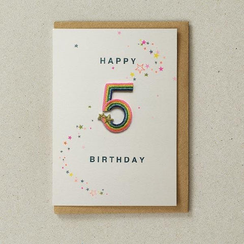 Embroidered Patch Card 5th Birthday