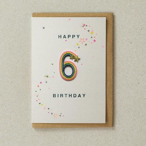 Embroidered Patch Card 6th Birthday