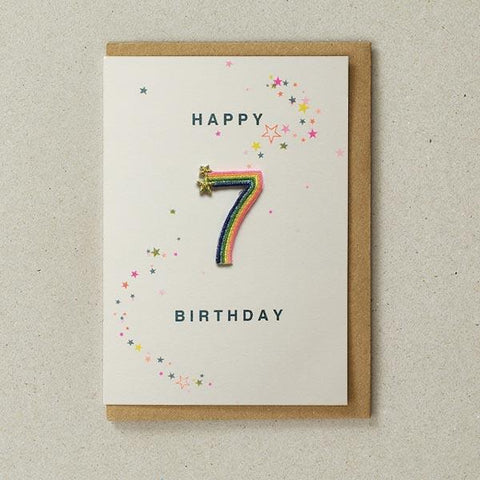 Embroidered Patch Card 7th Birthday
