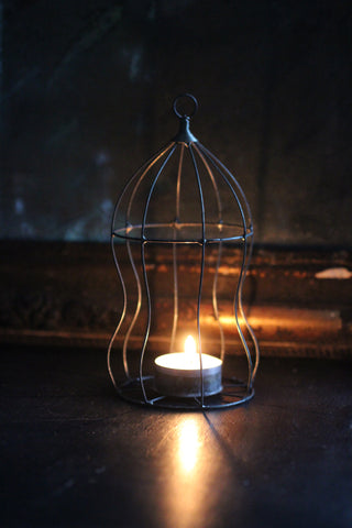 Zinc Wire Cage Candle `Holder