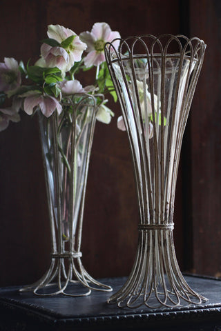 Wire and Glass Vases