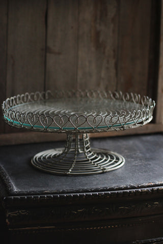 Wire Cake stand with Glass Plate
