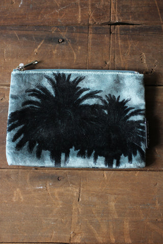 Blue Palm Velvet Pouch