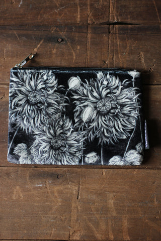 Black Poppy Velvet Pouch