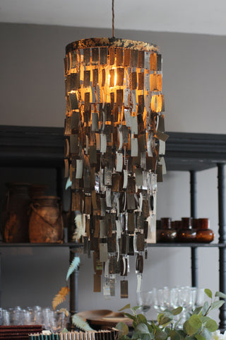 Chandelier Shade with Script Paper Pendants