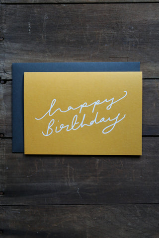 Katie Leamon Extract Birthday Scroll Mustard Card