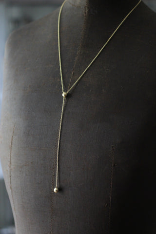 Long Y-necklace with ball pendants (Gold plated)