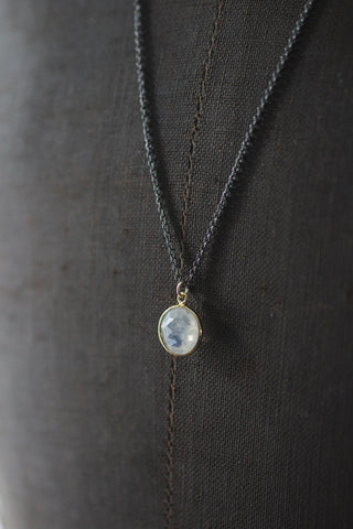 Long necklace with pendant, off-white rainbow moonstone