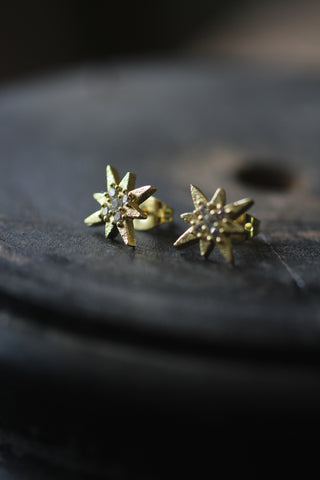 Post earring with star and zircons, Goldplated