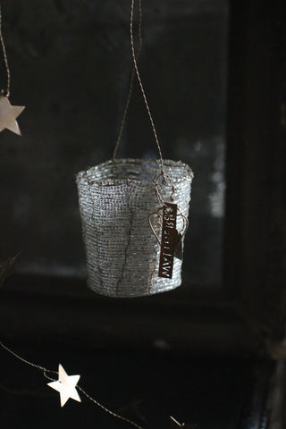 Walther & Co Hanging beaded basket