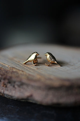 Alex Monroe Little Robin Stud Earrings