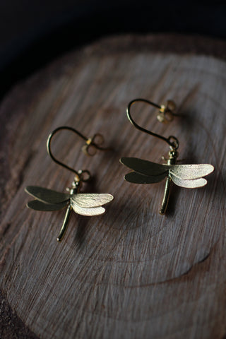 Alex Monroe Dragonfly Hook Earrings (Gold)