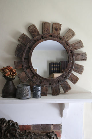 Antique Indian Spinning Wheel Mirror