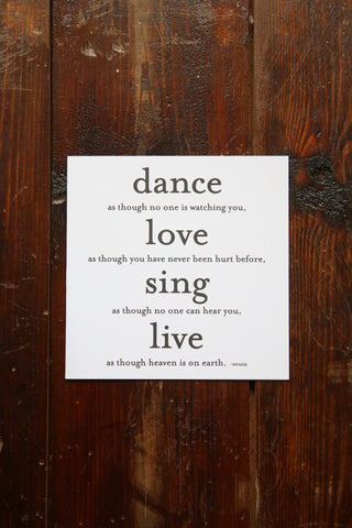 Quotable Card - Dance as if no one...