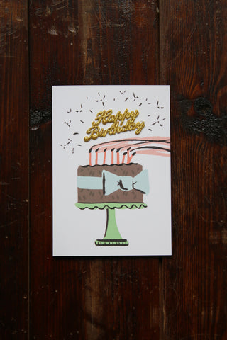 Brown Birthday Cake Card