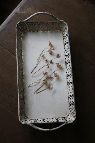 Antiqued White Metal Tray
