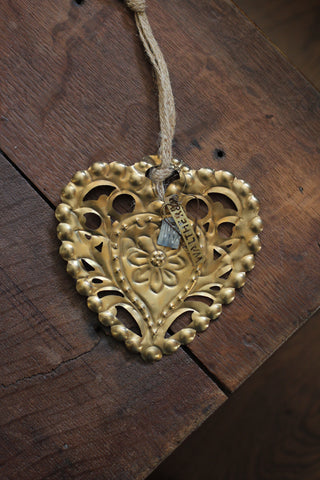 Walther & Co Embossed Brass Heart
