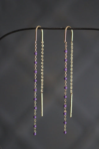 Gold Earrings with chain and beads