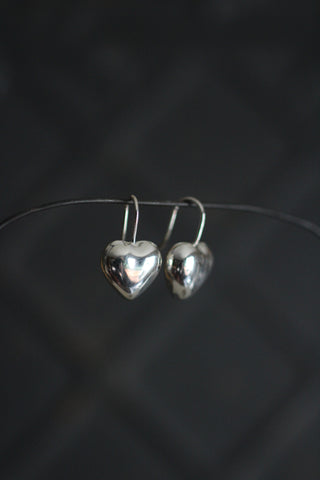 Silver Heart Hook Earrings