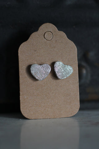 Silver Heart Stud Sparkly Earrings