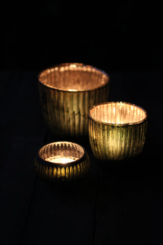 Green Ribbed Votive