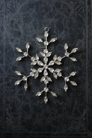 Silver Glass Jewelled Snowflake Decoration