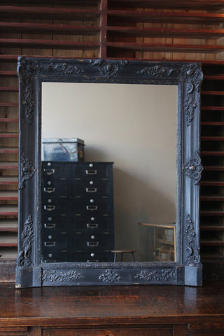 Black French Mantle Mirror